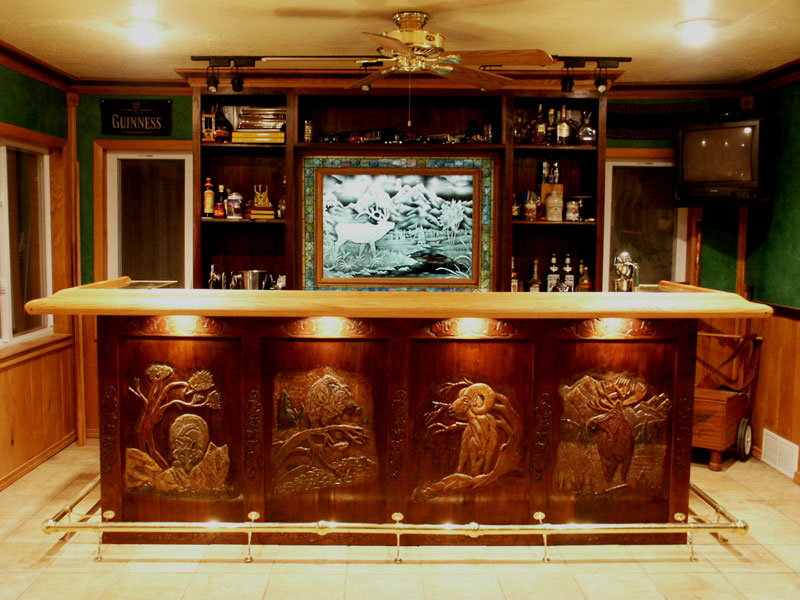 Custom Hand Carved Walnut Bar With Wildlife Carvings ...