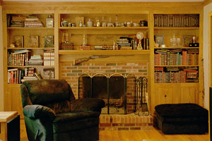 Oak Fireplace Surround - Custom with Library