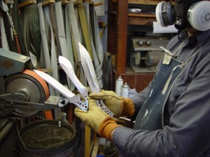 Artist Jay Fisher with Knife Blades Shown in Progress