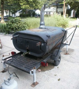 Eric Saperstein Artisans of the Valley's custom made oil tank pig cooker (roaster)