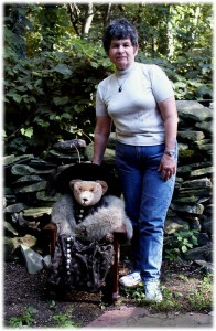 "Cindy Saperstein with Stearnsey Bear ""Granny Grace"""