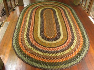 Hand Crafted Braided Rug by Marge Yonda (Before Restoration)
