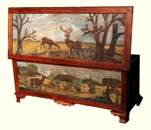 Custom Solid Cherry Hand Carved Safari Chest by Artisans of the Valley featuring whitetail deer, bear, and elk scenes.