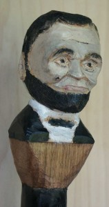 Artisans of the Valley Walking Stick with Abraham Lincoln bust