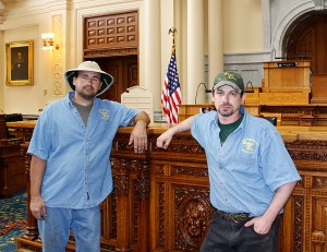 Artisans of the Valley at the NJ Statehouse showing Michael Pietras and Eric M. Saperstein, photo by Jeannine Flynn