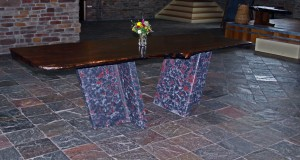 Bubinga Slab Top Marbleized Concrete Base Dining Table by Artisans of the Valley