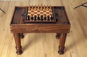 Custom Solid Walnut Gaming Table with Flip Top Board (Chess & Backgammon)