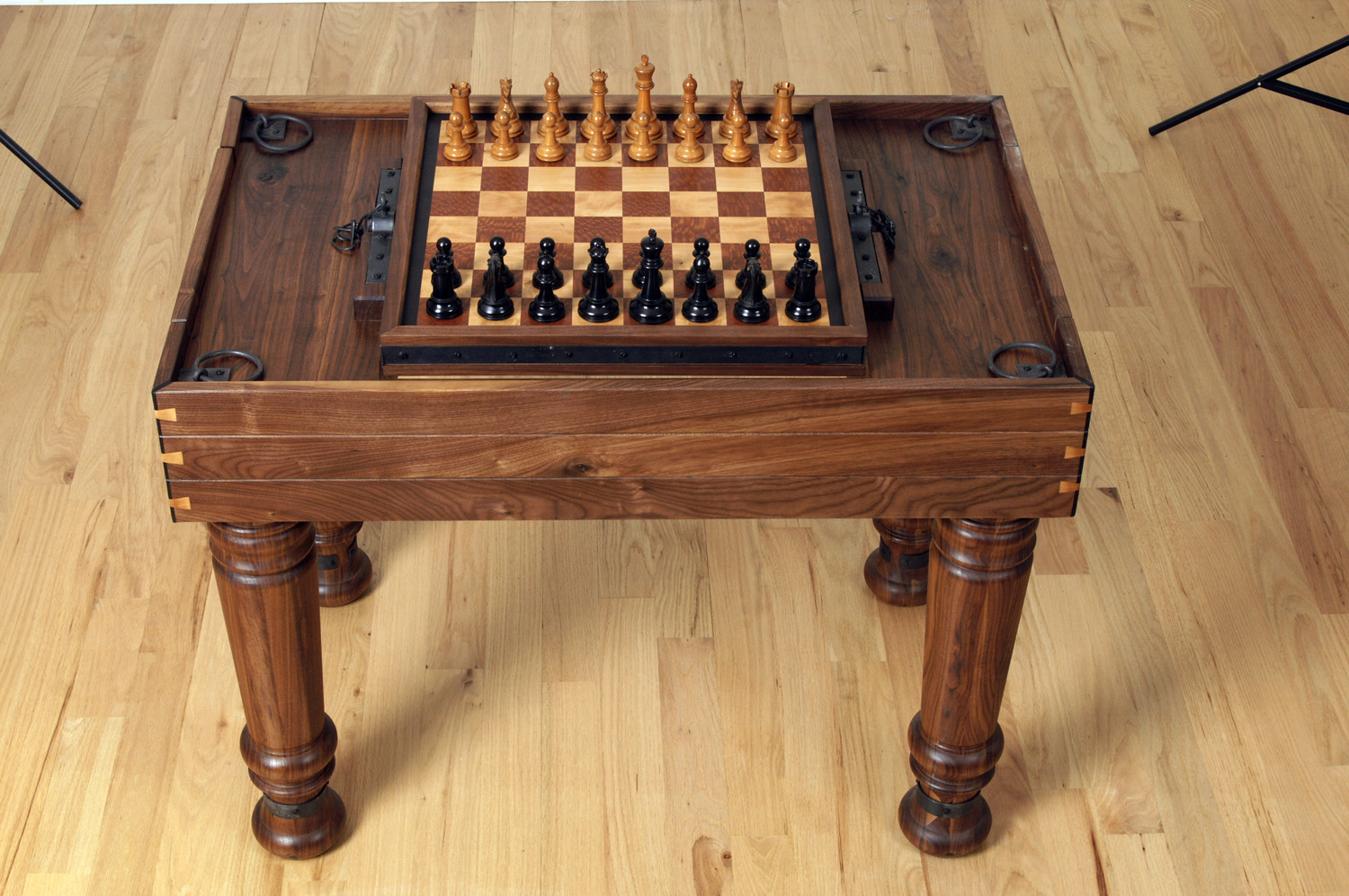 Custom Solid Walnut Gaming Table with Flip Top Board (Chess \u0026 Backgammon) ... : table chess sets - pezcame.com