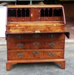 Circa 1750 Tiger Maple Secretary After Restoration