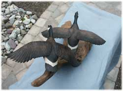 Flying Geese Decoy Carving - Broken Wing After Restoration