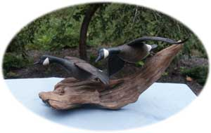 Flying Geese Decoy Carving - Broken Wing After Restoration Front Angle
