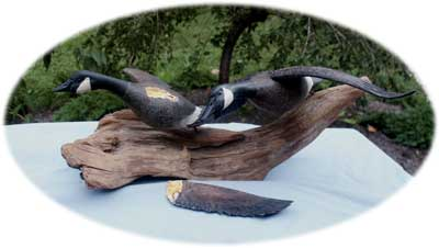 Flying Geese Decoy Carving - Broken Wing Before Restoration