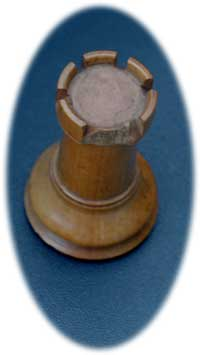 Staunton Chess Set - Rook Before Restoration Top View