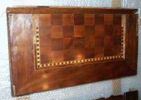 Antique Foldering Chess Board - Before Restoration - Top Half 2nd View