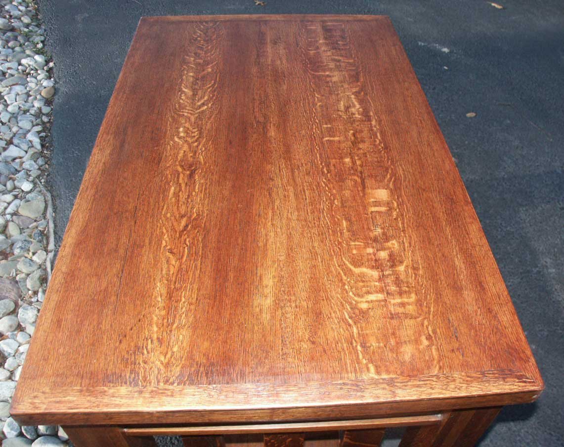 Wonderful image of Quarter Sawn Golden Oak Library Table After Restoration Top Surface with #B1631A color and 1141x906 pixels