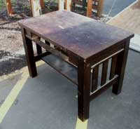 Quarter Sawn Golden Oak Library Table Before Restoration - Front Angle
