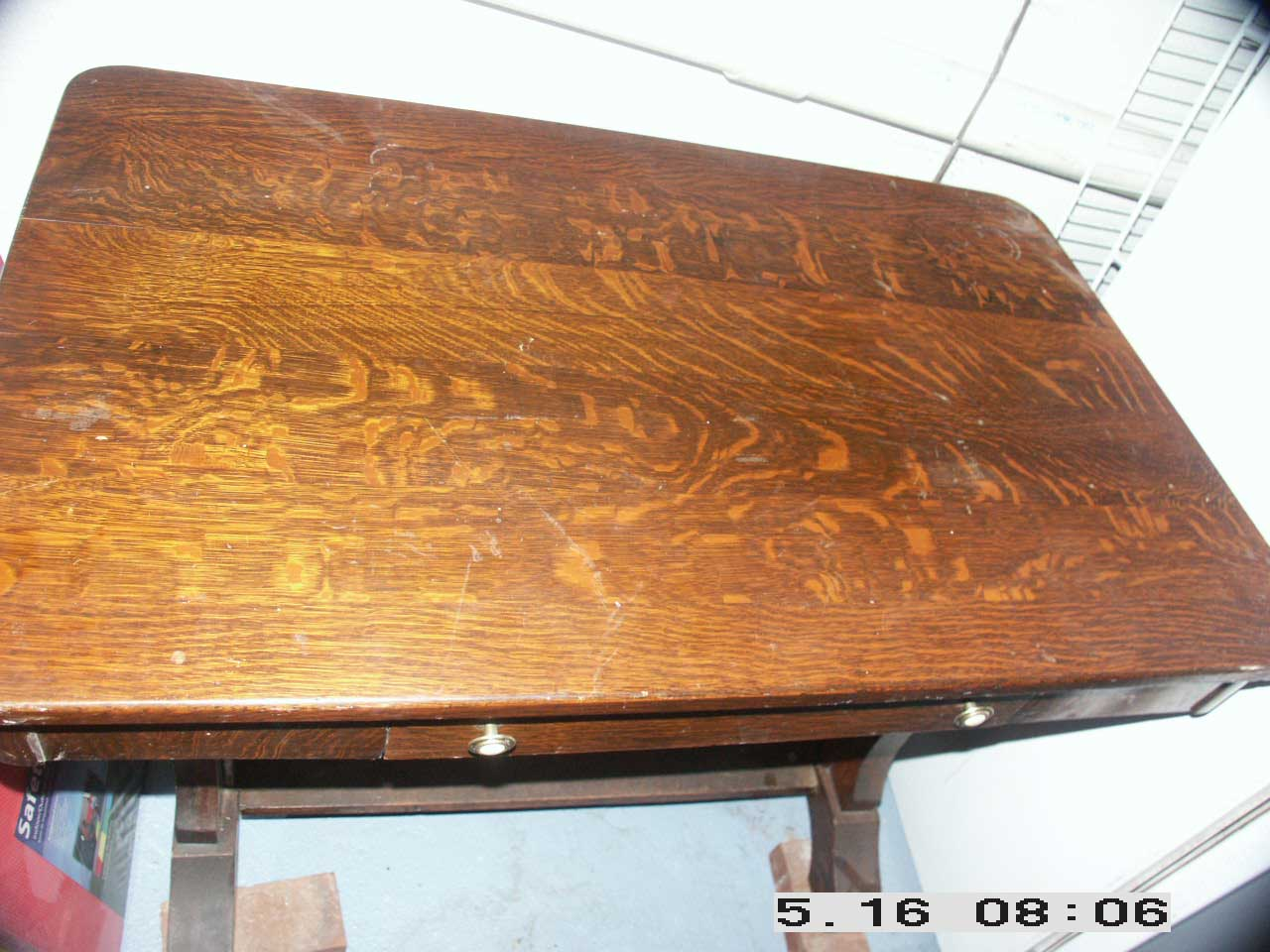 Golden Oak Quarter Sawn Table Before Restoration