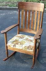 Artisans of the Valley Golden Oak Rocker - After Restoration Front Right Angle