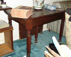 Rope twist leg table before restoration