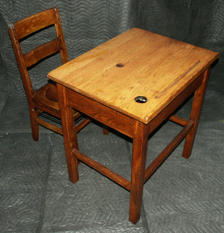 Antique Wooden School Desk Furniture - Antique School Desk With Inkwell Value - Desk Ideas