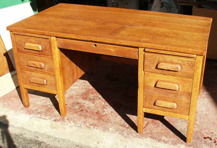 Artisans of the Valley - Golden Oak Teachers Desk After Restoration Angle  Front - Artisans Of - Antique Teachers Desk Antique Furniture
