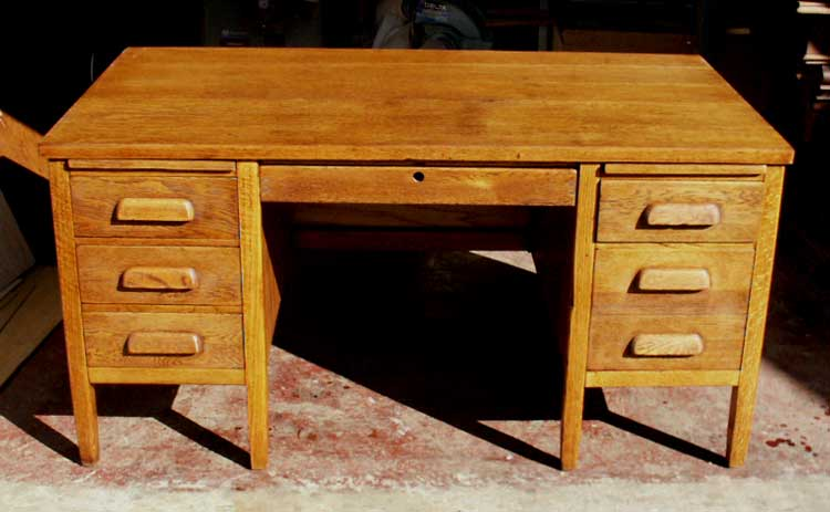 Artisans of the Valley - Golden Oak Teachers Desk After Restoration Front  View - Artisans Of The Valley - Restoration Gallery Golden Oak Page 5