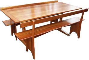 Solid Cherry Kitchen Table & Matching Benches - Restoration by Artisans of the Valley Complete