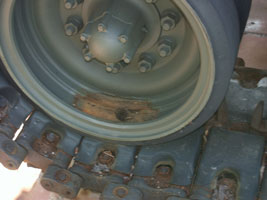 M60A3 Main Battle Tank Prior to Restoration AmVets Post #77 - Wheel Closeup