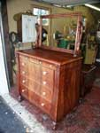 Circa 1904 Mahogany Bedroom Set Restoration Bureau In Progress w/ Mirror