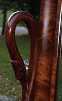 Circa 1904 Mahogany Bedroom Set Restoration Carving Detail Swan Closeup Restoration Complete