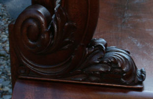 Circa 1904 Mahogany Bedroom Set Restoration Carving Detail Scrollwork & Acanthus Leaves Closeup Restoration Complete