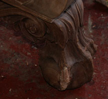 Circa 1904 Mahogany Bedroom Set Restoration Carving Detail Ball & Claw Foot Closeup In Progress