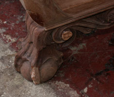 Circa 1904 Mahogany Bedroom Set Restoration Carving Detail Ball & Claw Foot and Rossette Closeup In Progress