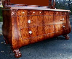 Circa 1904 Mahogany Bedroom Set Restoration Dresser Front Angle View Complete