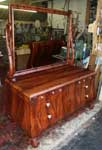 Circa 1904 Mahogany Bedroom Set Restoration In Progress - Dresser with Mirror