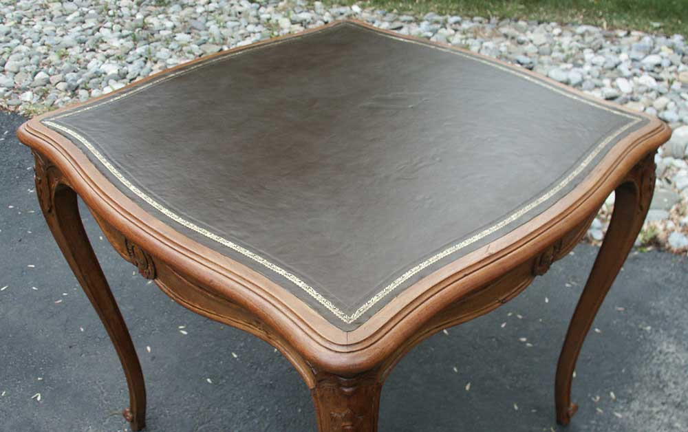 ... Victorian Card Table After Restoration Leather Top Closeup