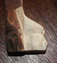 Victorian Chair Restoration - Replacment Paw Foot Section Hand Carving Completed Before Finishing Right Angle