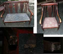 Victorian Setea and Chair Restoration - Before Missing Five out of Six Paw Feet