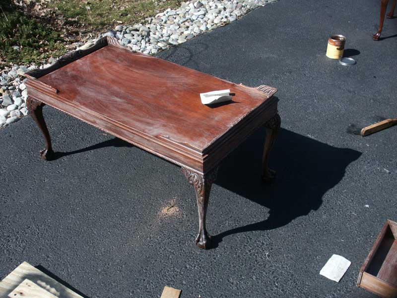 ... Victorian Mahogany Claw Foot Coffee Table During Restoration Tung Oil  Lightly Sanded ...