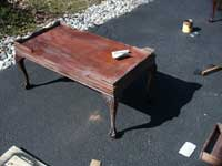 Victorian Mahogany Claw Foot Coffee Table During Restoration Tung oil lightly Sanded
