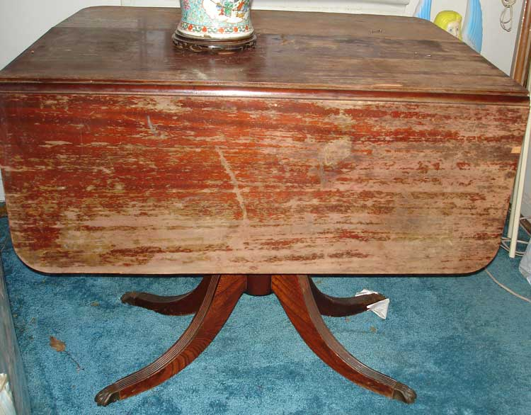Beau Mahogany Drop Leaf Table Before Restoration