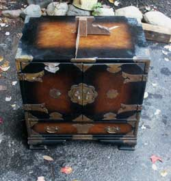 Oriental chest restoration by Artisans of the Valley - Before Image