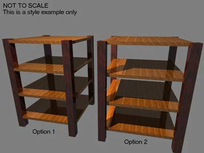 CAD Layout of Solid Cherry & Walnut Mission Audio Shelf - Artisans of the Valley