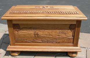 Solid Quarter Sawn White Oak Wedding Chest/Box - Beach Scene
