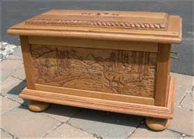 Solid Quarter Sawn White Oak Wedding Chest/Box - Elk Scene