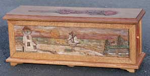 Hand Carved Custom Oak Jewelry Box In progress - Beach Scene Complete