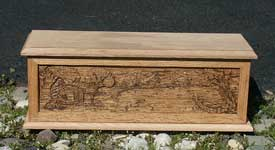 Hand carved solid oak jewelry box - Cabin Scene side with lid and base
