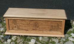 Hand carved solid oak jewelry box - Beach Scene side with lid and base