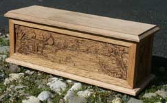 Hand carved solid oak jewelry box - Cabin Scene side with lid and base Angle Photo