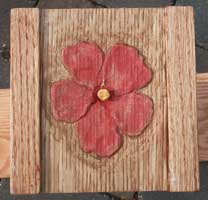 Hand Carved Custom Oak Jewelry Box In progress - Carved Hibiscus Tinted